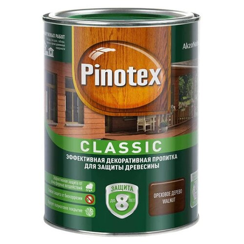 Фото - Водозащитная пропитка Pinotex Classic ореховое дерево 1 л водозащитная пропитка pinotex classic светлый дуб 1 л