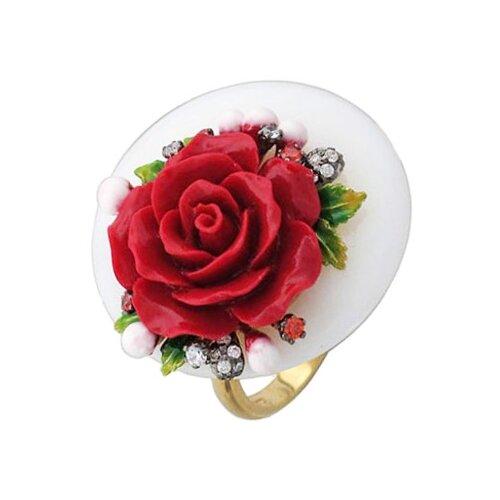 Эстет Кольцо Цветок с ониксом, пластиком, фианитами, эмалью из серебра Ж8К450001ЭП, размер 17 фото