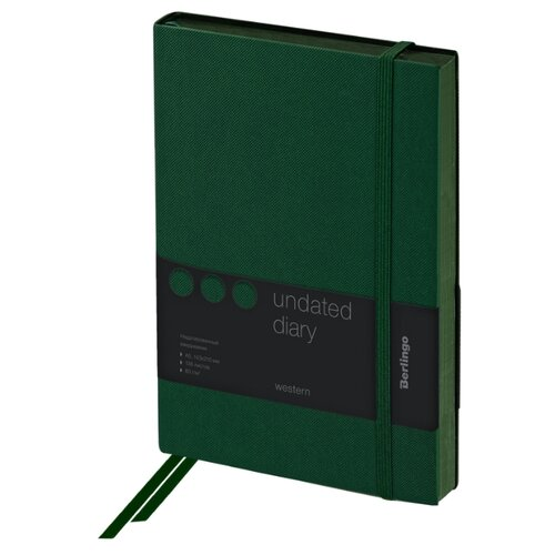 Купить Ежедневник Berlingo Western недатированный, искусственная кожа, А5, 136 листов, зелeный, Ежедневники, записные книжки