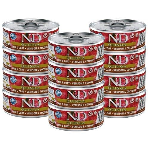 Влажный корм для кошек Farmina N&D Quinoa, для здоровья кожи и шерсти, беззерновой, с олениной, с кокосом, с киноа 12шт. х 80 г