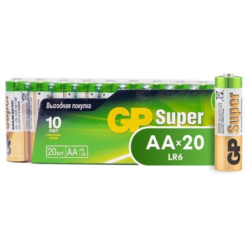 Фото - Батарейка GP Super Alkaline AA 20 шт пленка батарейка gp super alkaline aa 16 шт блистер