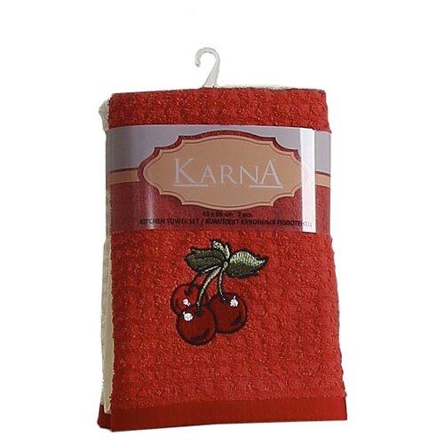 KARNA набор полотенец Lemon V2 2229 кухонное 45х65 см красный/кремовый деннис уитли им помогали силы тьмы