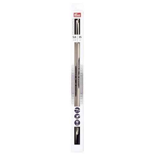 Спицы Prym полимерные Ergonomics, диаметр 5 мм, длина 35 см, алебастровый белый