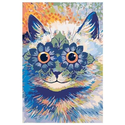 Купить Цветочный котик Раскраска картина по номерам на холсте A105 40х60, Живопись по номерам, Картины по номерам и контурам