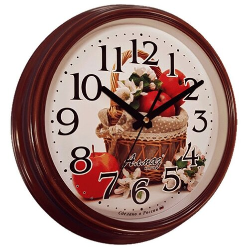 Часы настенные кварцевые Алмаз A58 коричневый/белый часы настенные кварцевые алмаз a58 коричневый белый