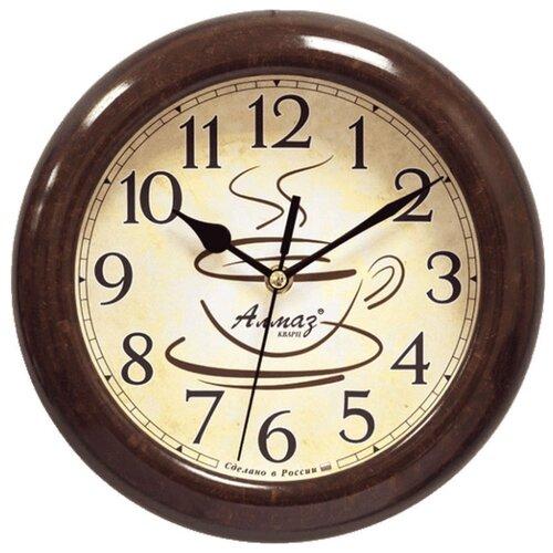 Часы настенные кварцевые Алмаз P31 темно-коричневый/бежевый