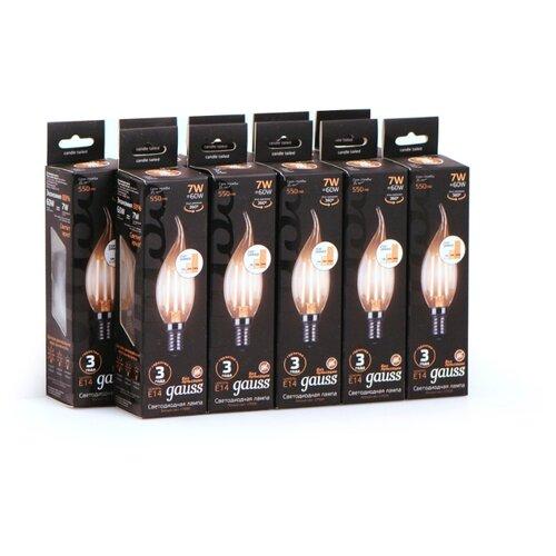 Фото - Упаковка ламп 10 штук Gauss LED Filament Свеча на ветру E14 7W 550lm 2700K step dimmable 1/10/50 лампа светодиодная gauss 104801107 s led filament свеча на ветру e14 7w 550lm 2700k step dimmable