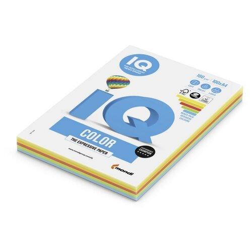 Бумага цветная IQ А4, 160 г, 5 цветов, интенсив по 20 листов, пачка 100 листов