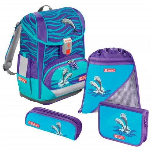 Купить Step By Step Ранец Light2 Happy Dolphins 4 предмета (138502), бирюзовый, Рюкзаки, ранцы
