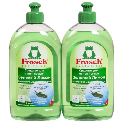 Фото - Frosch Набор средств для мытья посуды Зелёный лимон, 2 шт, 0.5 л frosch средство для мытья посуды зелёный лимон 0 5 л