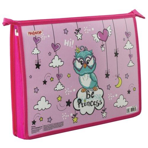 Купить Пифагор Папка для тетрадей Owl Princess А4, молния розовый, Файлы и папки