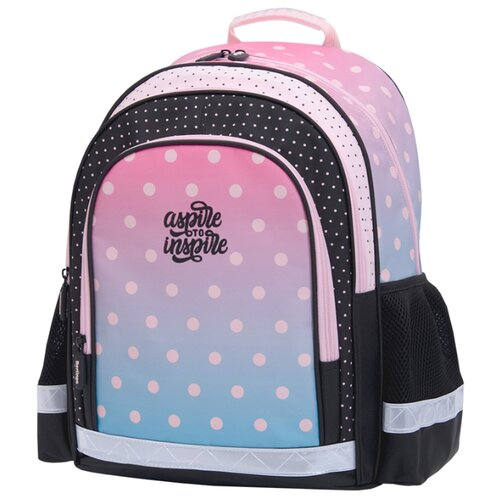 Купить Berlingo рюкзак inStyle+ Горох, черный/розовый/голубой, Рюкзаки, ранцы