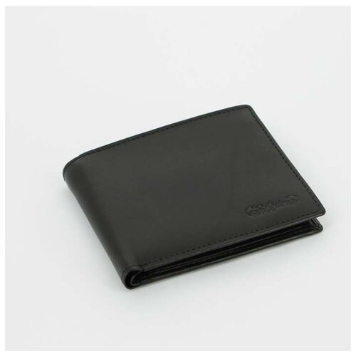 Портмоне S.Quire, натуральная воловья кожа, черная, гладкая, 11,2x9 см