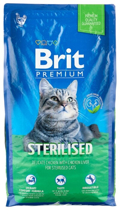 Корм для стерилизованных кошек Brit Premium с курицей 8 кг — купить по выгодной цене на Яндекс.Маркете