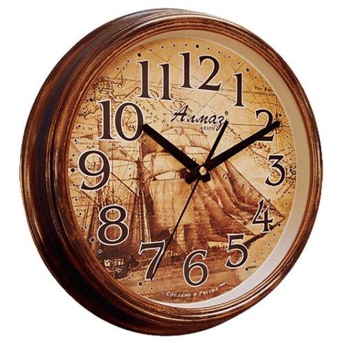 цена на Часы настенные кварцевые Алмаз A40 коричневый