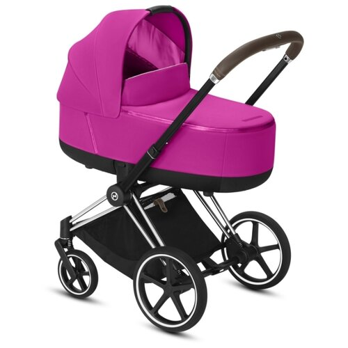 Купить Коляска для новорожденных Cybex Priam III (люлька) fancy pink/chrome/brown, цвет шасси: серебристый, Коляски
