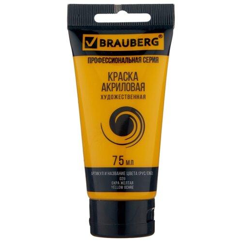 Купить BRAUBERG Краска акриловая художественная Профессиональная серия 75 мл охра желтая, Краски