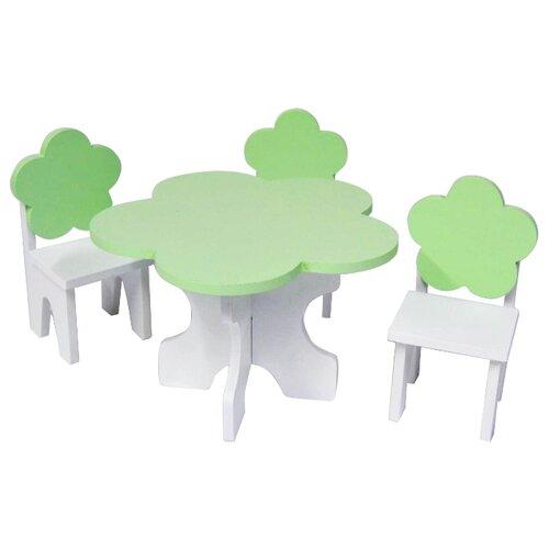 Купить PAREMO Набор мебели для кукол Цветок (PFD120-45/PFD120-46/PFD120-44/PFD120-42/PFD120-43) белый/салатовый, Мебель для кукол
