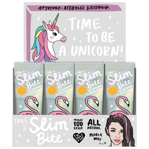Фруктовый батончик Slim Bite Box Unicorn без сахара Апельсин, 30 шт