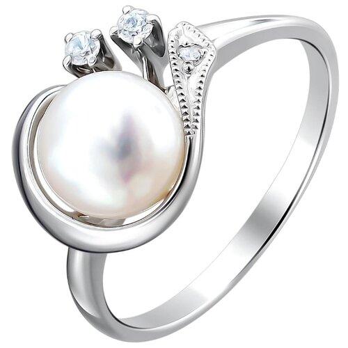 Эстет Кольцо с жемчугом и фианитами из серебра С15К350675, размер 16.5 ЭСТЕТ