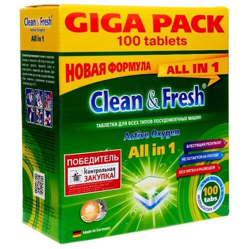 Фото - Clean & Fresh All in 1 таблетки для посудомоечной машины, 100 шт. somat all in 1 таблетки лимон и лайм для посудомоечной машины 390 шт в6 уп