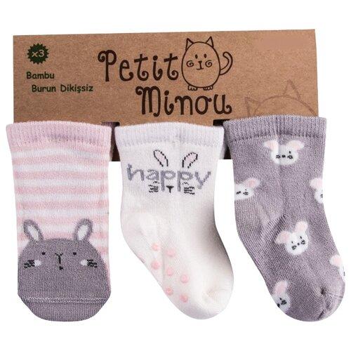 Купить Носки Petit Minou комплект из 3 пар, размер 6-12 мес, розовый/белый/серый