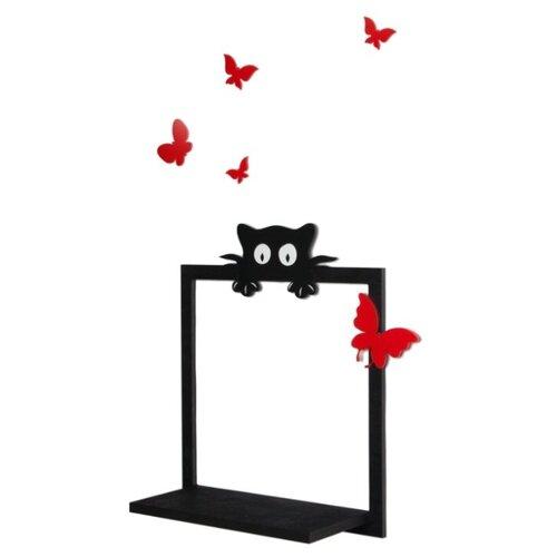 Полка для детской Том Полкер Котополка Алые бабочки 39х16 см , черный/красный