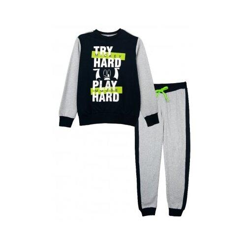 Пижама playToday размер 128, серый/темно-синий/светло-зеленый