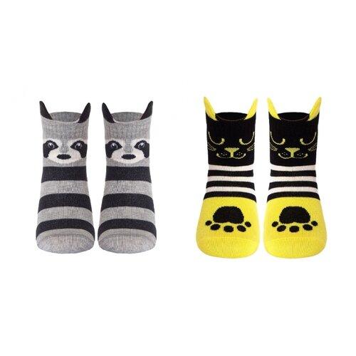 Носки Conte-kids комплект 2 пары размер 16, 317 серый/319 желтый