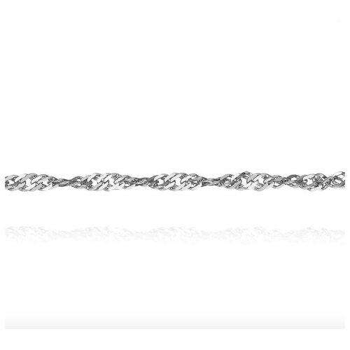АДАМАС Цепь из белого золота плетения Панцирь одинарный ЦП235СзА2-А58, 50 см, 3.82 г