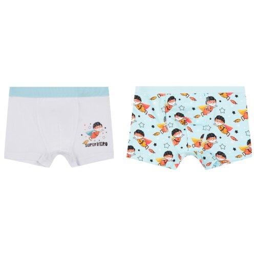 Купить Трусы Leader Kids 2 шт., размер 98-104, белый/мятный, Белье и пляжная мода