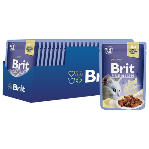 Фото - Корм для кошек Brit Premium с говядиной 24шт. х 85 г (кусочки в желе) brit набор паучей brit premium family plate jelly для взрослых кошек в желе 85 г х 12 шт курица говядина форель и лосось