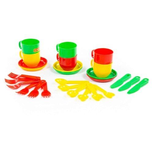 Набор посуды Полесье Минутка на 6 персон, в сетке 9585/80288/80271 красный/желтый/зеленый
