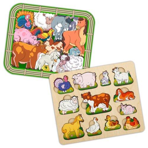 Купить Набор рамок-вкладышей Нескучные игры Переполох на ферме (8068) + Чей малыш. Домашние животные (8090), Пазлы