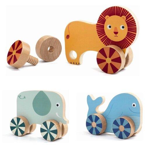 Купить Развивающая игрушка DJECO Прикрути колёса оранжевый/зеленый/голубой, Развитие мелкой моторики
