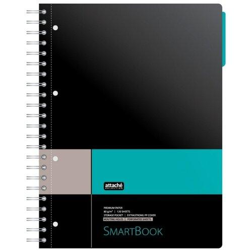 Купить Бизнес-тетрадь Attache Smart Book А4, 120 листов, клетка, спираль, серо-бирюзовый (272652), Тетради