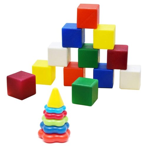 Купить Набор развивающий: Пирамида детская малая арт. 40-0046 + Набор Кубики большие , 12 дет. арт. К-002, Karolina toys, Детские кубики