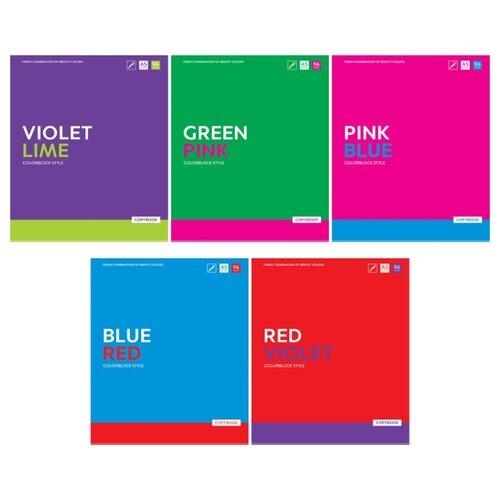 Купить ArtSpace Упаковка тетрадей Моноколор. Colorblock Т96к_26703, 5 шт./5 дизайнов, клетка, 96 л., Тетради