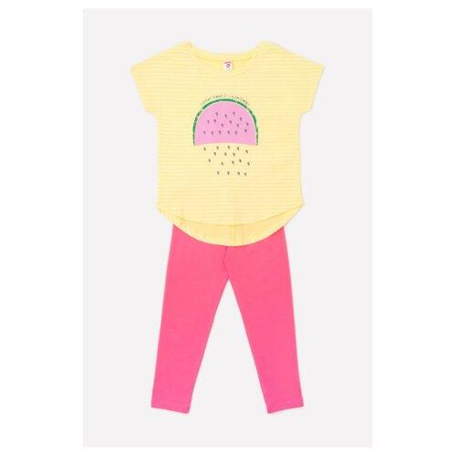 Комплект одежды Optop размер 128, бледный лимон полоска/спелый арбуз