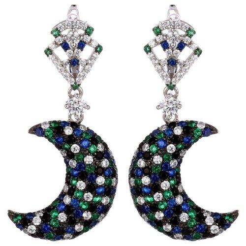 JV Серьги с фианитами из серебра WE23519-BM-SR-001-WG jv женское серебряное кольцо с куб циркониями в позолоте wr22790 bm 001 vr 16 5