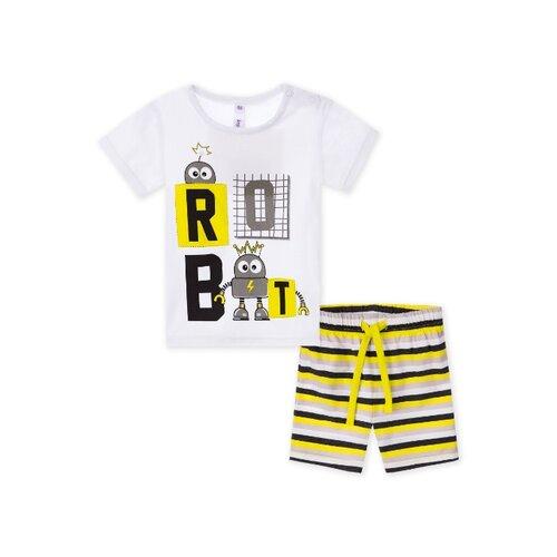 Купить Комплект одежды playToday размер 74, белый/желтый/серый, Комплекты