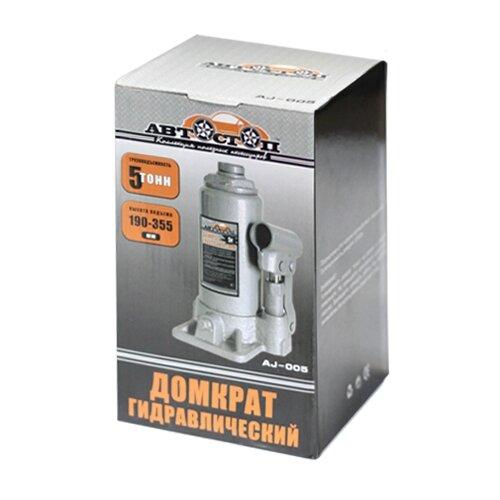 Домкрат бутылочный гидравлический Автостоп AJ-005 (5 т) серый домкрат бутылочный гидравлический автостоп aj 016 16 т серый
