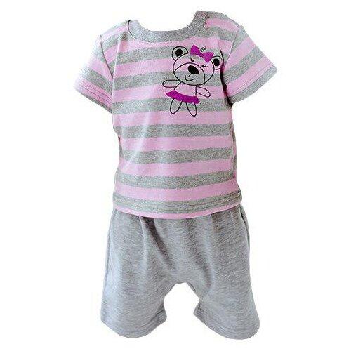 Купить Комплект одежды Лапушка размер 74, серый/розовый, Комплекты