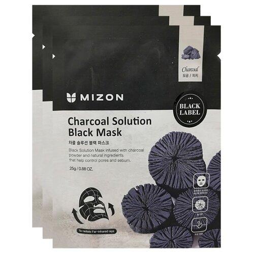 Mizon Маска c древесным углем Charcoal Solution Black Mask, 25 г, 3 шт. недорого