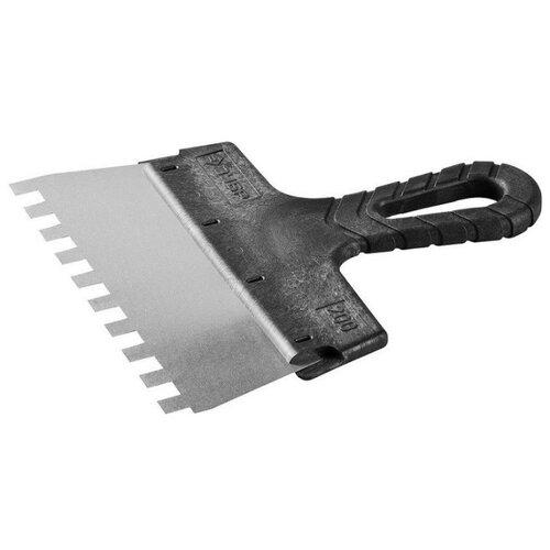 Фото - Шпатель зубчатый ЗУБР 10078-20-10 200 мм черный шпатель фасадный зубр 10077 20 200 мм черный