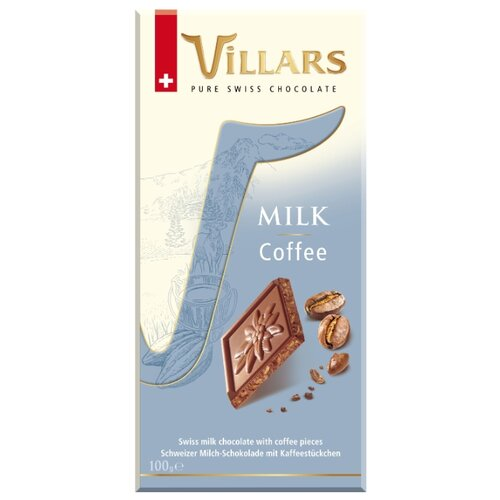 шоколад villars 72% горький 100 г Шоколад Villars Milk Coffee молочный с хрустящей кофейной крошкой, 100 г