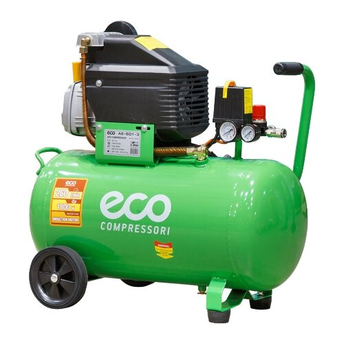 Фото - Компрессор масляный Eco AE-501-3, 50 л, 1.8 кВт компрессор автомобильный eco ae 015 3 12 в 150 вт 40 л мин 10 бар манометр 7 бар сумка