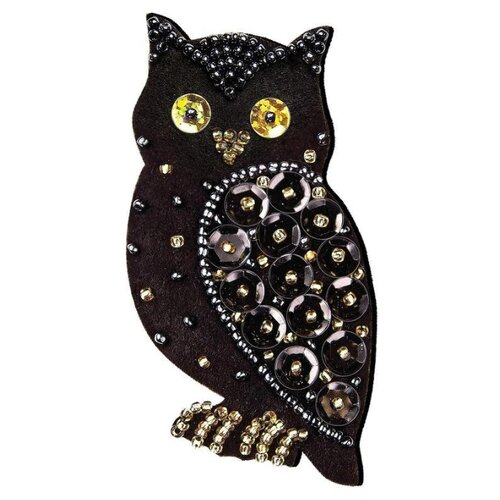 Купить Клеvер Набор для вышивания бисером и пайетками Яркий патч Ночная птица 8 x 4 см (АФ 19-071), Наборы для вышивания