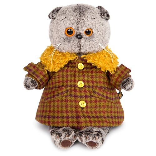 Купить Мягкая игрушка Basik&Co Кот Басик в пальто с желтым меховым воротником 25 см, Мягкие игрушки