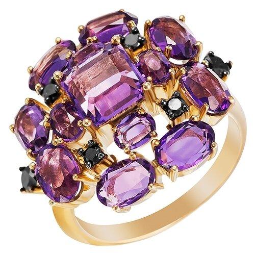 цена на JV Кольцо с бриллиантами, аметистами из желтого золота R12130AM-BL-Y-DB-AM-YG, размер 18.5